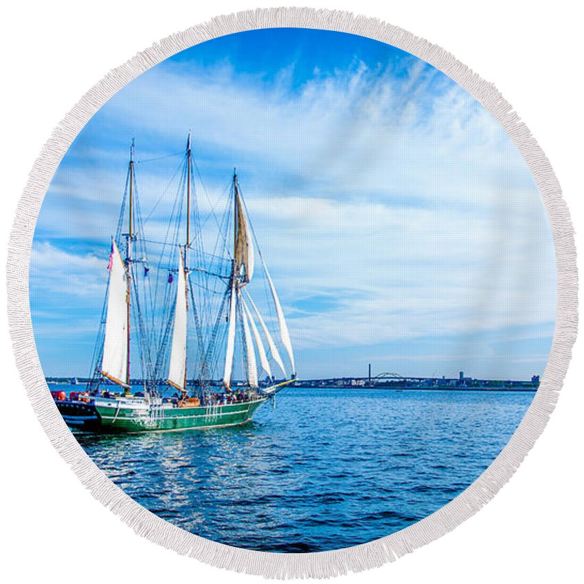 Blue Round Beach Towel featuring the photograph Dennis Sullivan Afloat by Andrew Slater