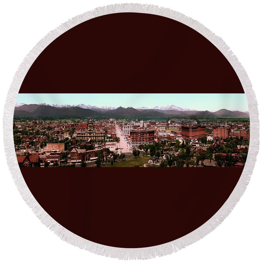 Denver Round Beach Towel featuring the photograph Denver Panorama 1897 by Mountain Dreams