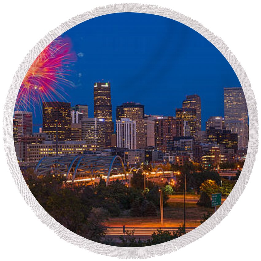 Denver Round Beach Towel featuring the photograph Denver Skyline Fireworks by Steve Gadomski