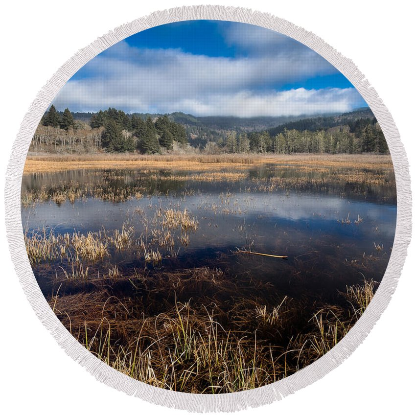 Reflections Round Beach Towel featuring the photograph Depths Of Dry Lagoon by Greg Nyquist