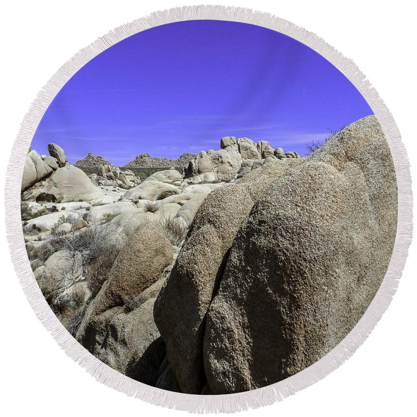 Lovejoy Round Beach Towel featuring the photograph Desert Bolders by Lovejoy Creations
