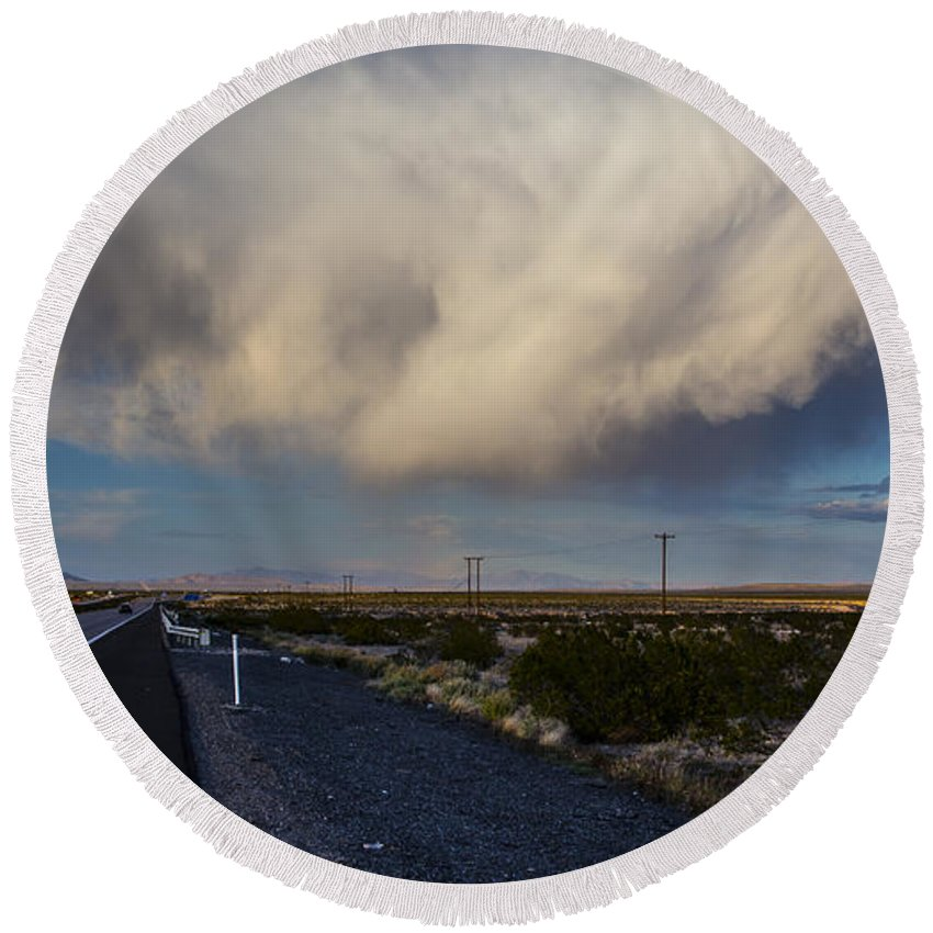 Nevada Round Beach Towel featuring the photograph Desert Clouds by Angus Hooper Iii