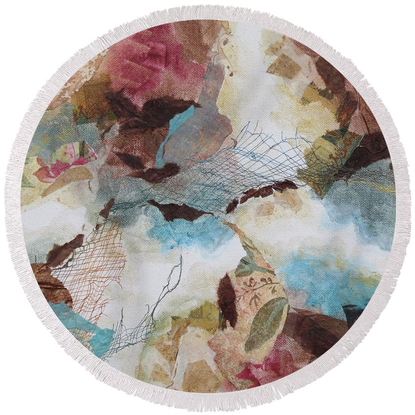 Abdtract Round Beach Towel featuring the painting Desert Dawn 1 by Deborah Ronglien