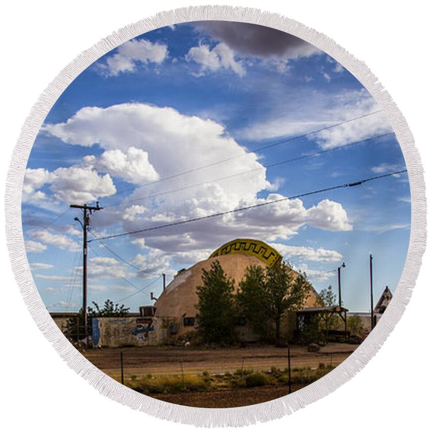 Route 66 Round Beach Towel featuring the photograph Desert Dome by Angus Hooper Iii