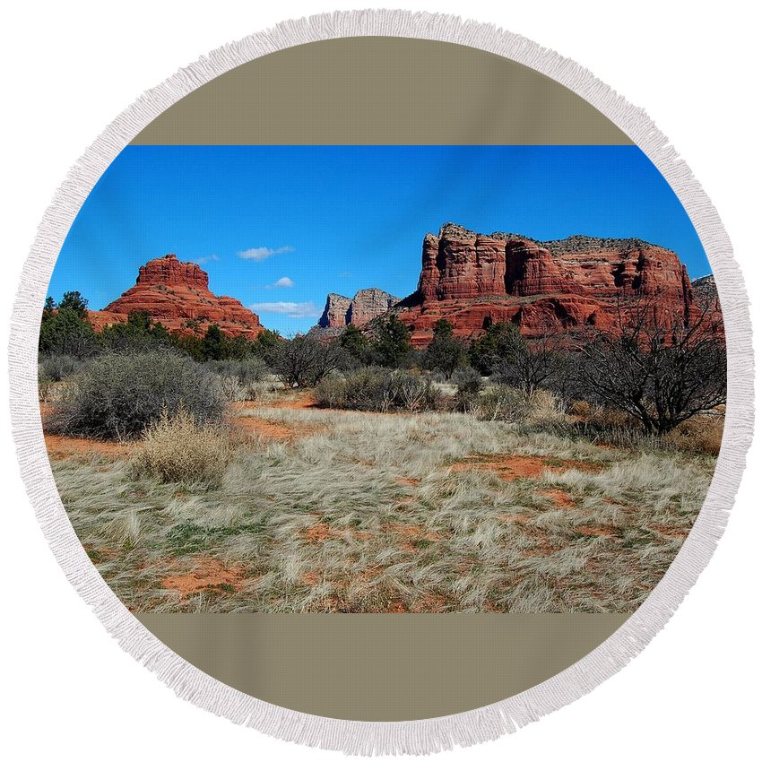 Arizona Round Beach Towel featuring the photograph Desert Dwellers by Miles Stites