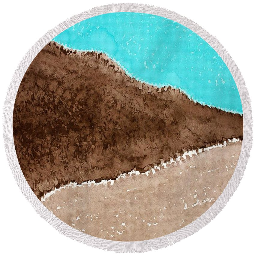 Desert Round Beach Towel featuring the painting Desert Mountains Original Painting by Sol Luckman