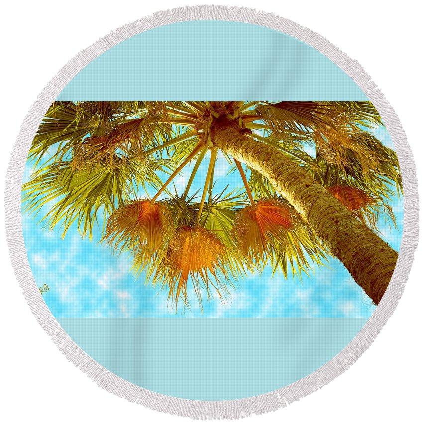 Palm Tree Round Beach Towel featuring the photograph Desert Palm by Ben and Raisa Gertsberg