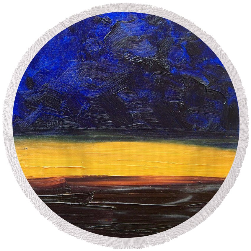 Landscape Round Beach Towel featuring the painting Desert Plains by Sergey Bezhinets