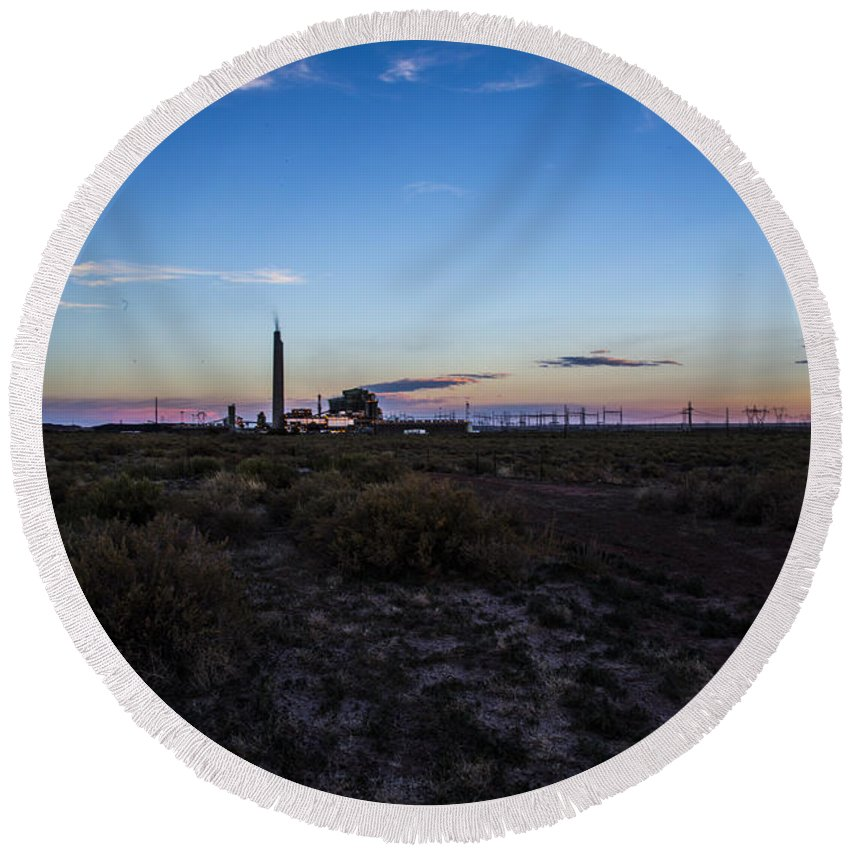 Route 66 Round Beach Towel featuring the photograph Desert Plant by Angus Hooper Iii