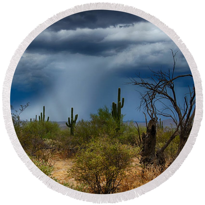 Arizona Round Beach Towel featuring the photograph Desert Rains by Saija Lehtonen