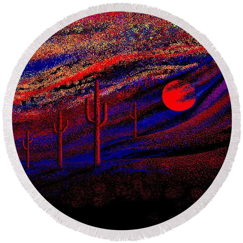Desert Sunset Quickly Sketched In Four And Half Hours.... Round Beach Towel featuring the digital art Desert Sunset by Larry Lehman