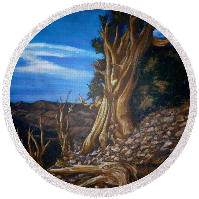 Desert Round Beach Towel featuring the painting Desert Tree by Bryan Bustard