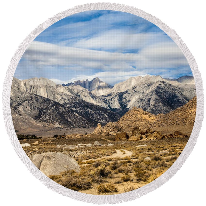 Desert View Of Majestic Mount Whitney Mountain Peaks With Clouds Landscape Nature Fine Art Photography Print Round Beach Towel featuring the photograph Desert View Of Majestic Mount Whitney Mountain Peaks With Clouds by Jerry Cowart