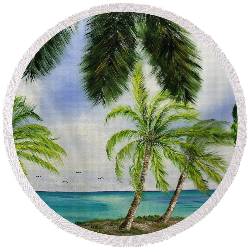 Island Round Beach Towel featuring the painting Deserted by Don Bowling