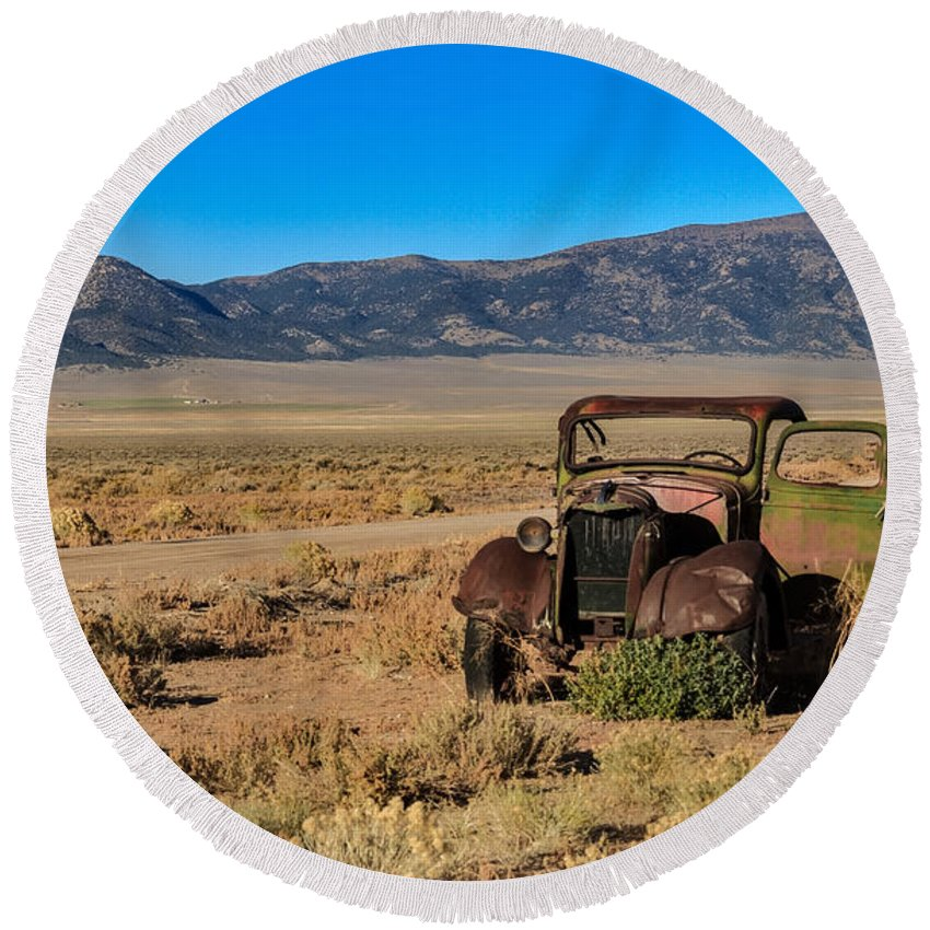 Transportation Round Beach Towel featuring the photograph Deserted by Robert Bales