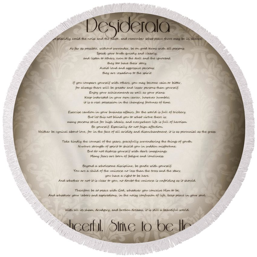 Desiderata Round Beach Towel featuring the photograph Desiderata - Vintage Sepia by Marianna Mills