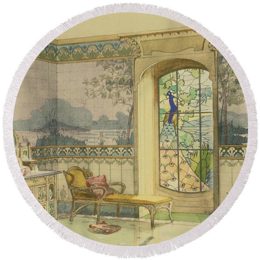 Art Nouveau Round Beach Towel featuring the drawing Design For A Bathroom, From Interieurs by Georges Remon