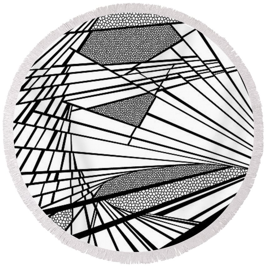 Dynamic Black And White Round Beach Towel featuring the painting Destinies by Douglas Christian Larsen