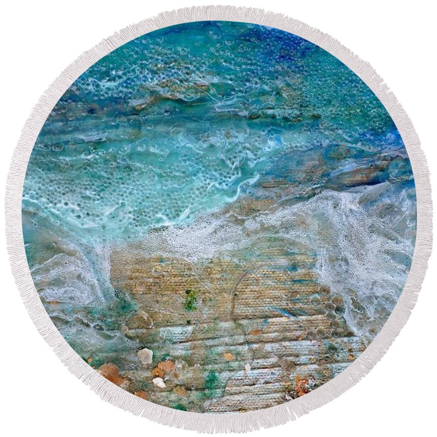 Detail Round Beach Towel featuring the painting Detail 7 From Rhapsody On The Sea by Regina Valluzzi