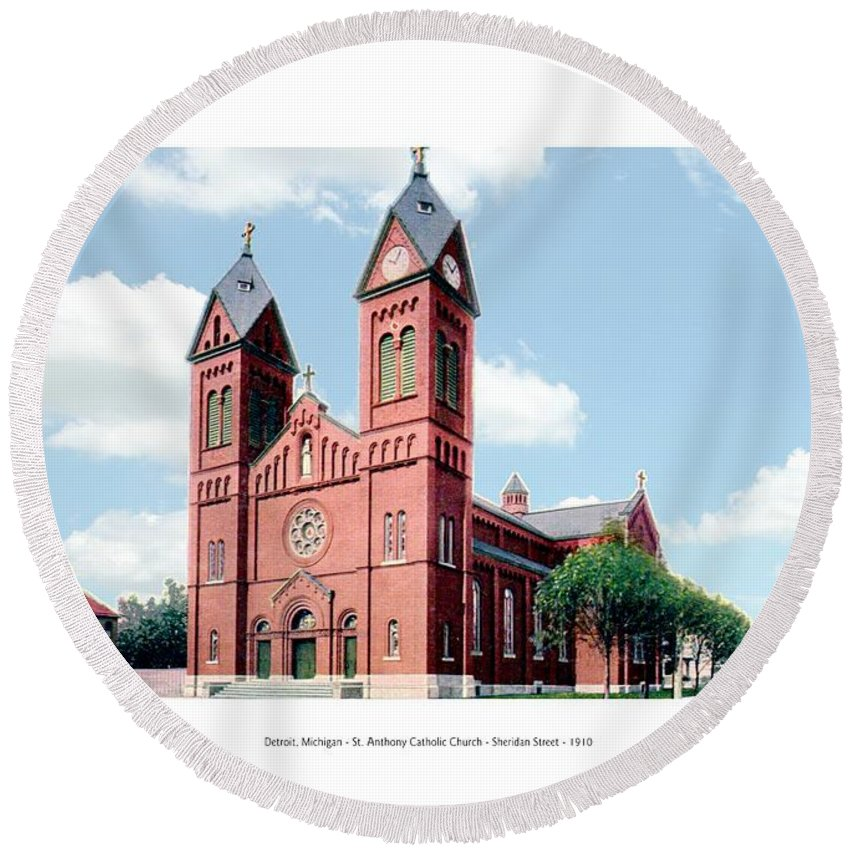 Detroit Round Beach Towel featuring the digital art Detroit - Sheridan Avenue - St Anthony Catholic Church - 1910 by John Madison