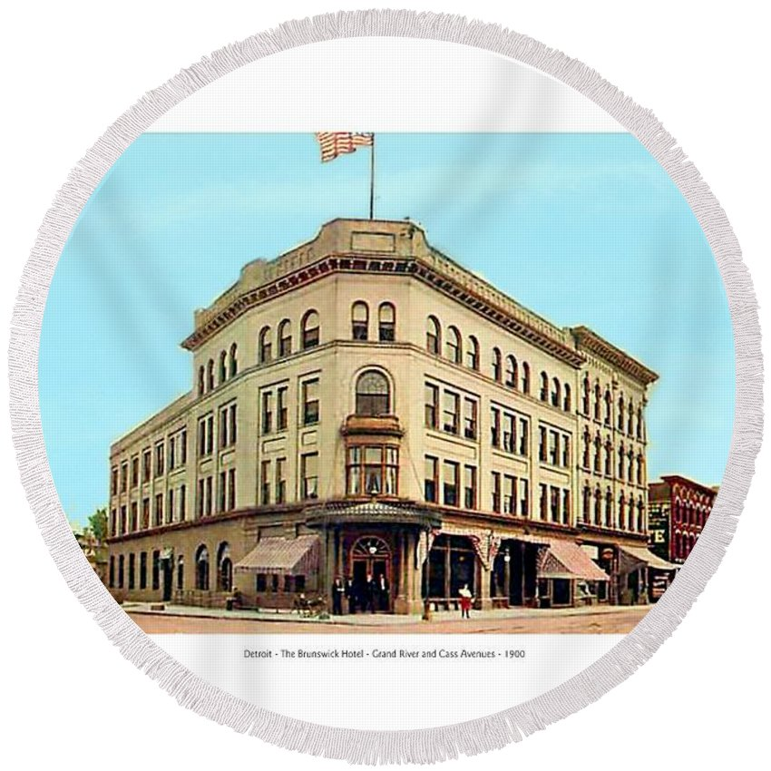Detroit Round Beach Towel featuring the digital art Detroit - The Brunswick Hotel - Grand Rive And Cass Avenues - 1900 by John Madison