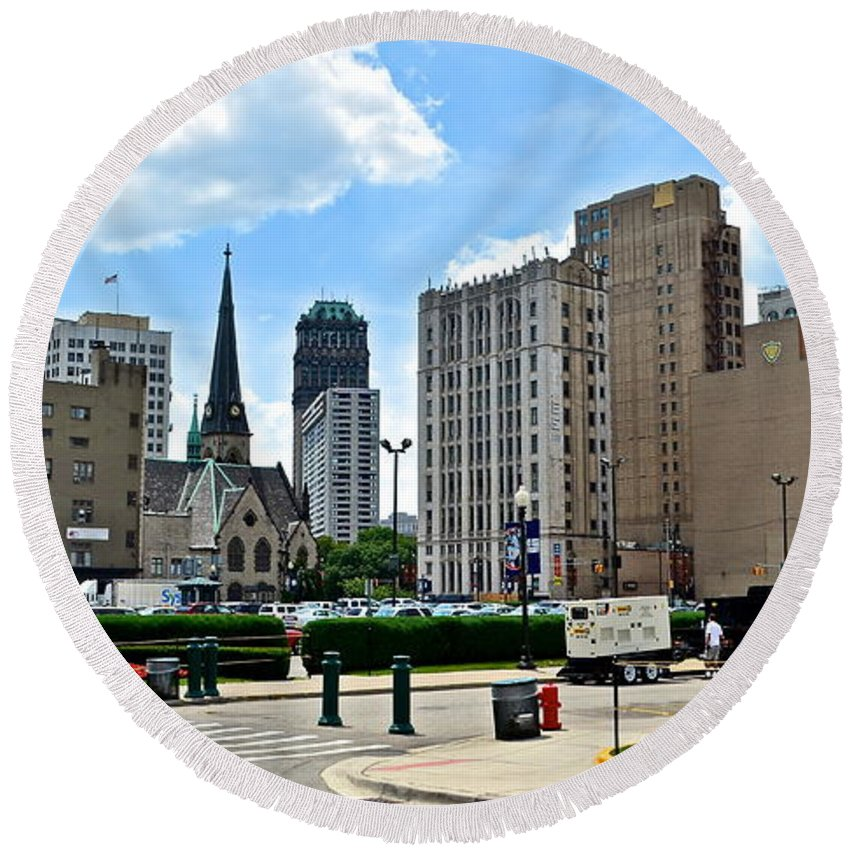 Detroit Round Beach Towel featuring the photograph Detroit As Seen From Comerica by Frozen in Time Fine Art Photography