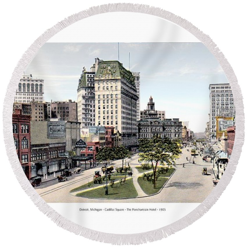 Detroit Round Beach Towel featuring the digital art Detroit - Cadillac Square - 1905 by John Madison