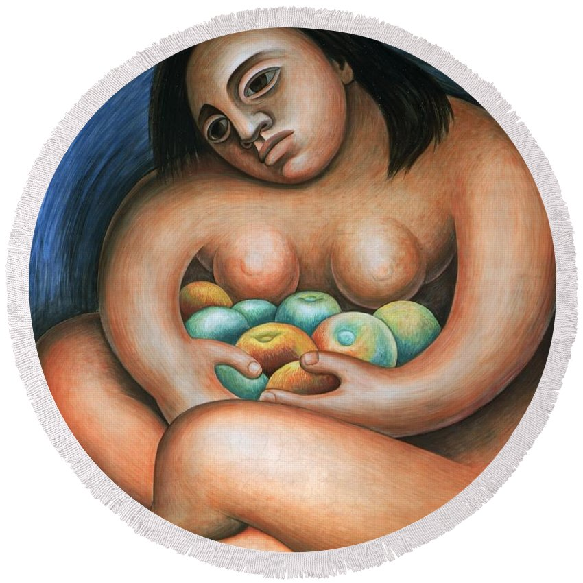 Diego Rivera Round Beach Towel featuring the painting Detroit Industry  Detail From The East Wall by Diego Rivera