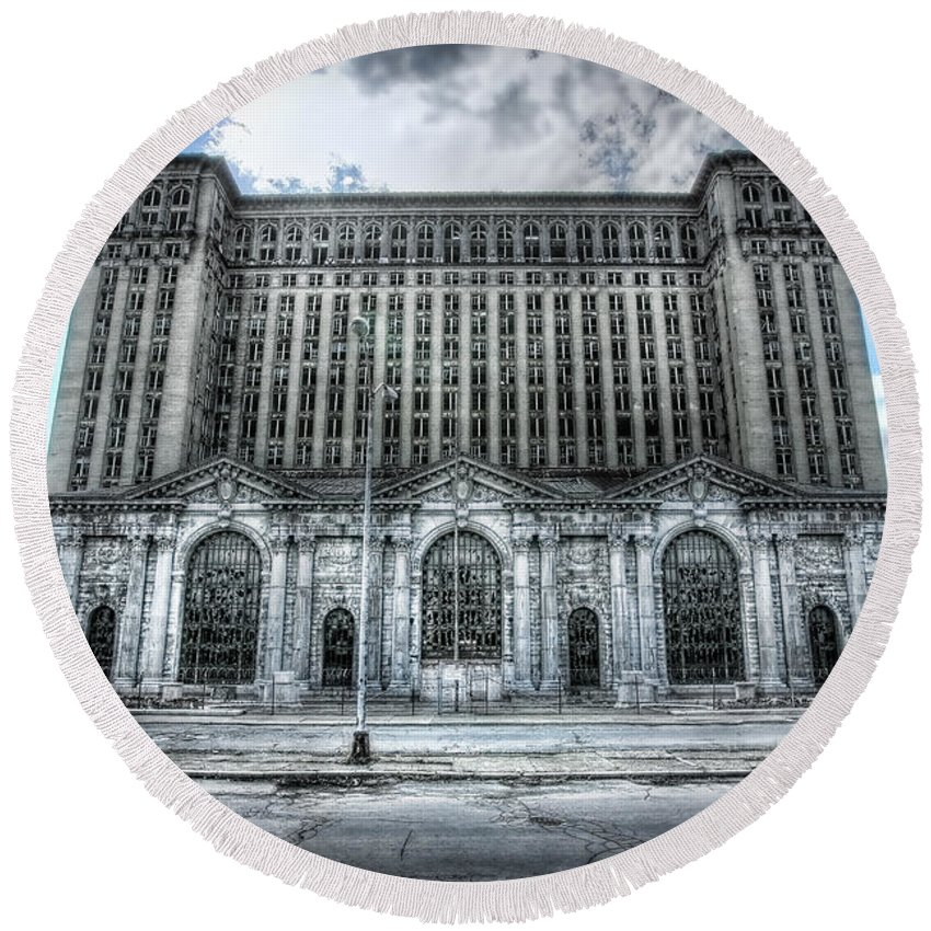 Detroit Round Beach Towel featuring the photograph Detroit's Abandoned Michigan Central Train Station Depot by Gordon Dean II