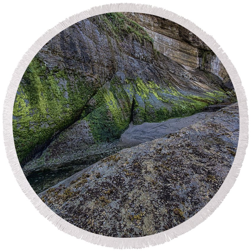 Rock Round Beach Towel featuring the photograph Devil's Punchbowl Trail by Erika Fawcett