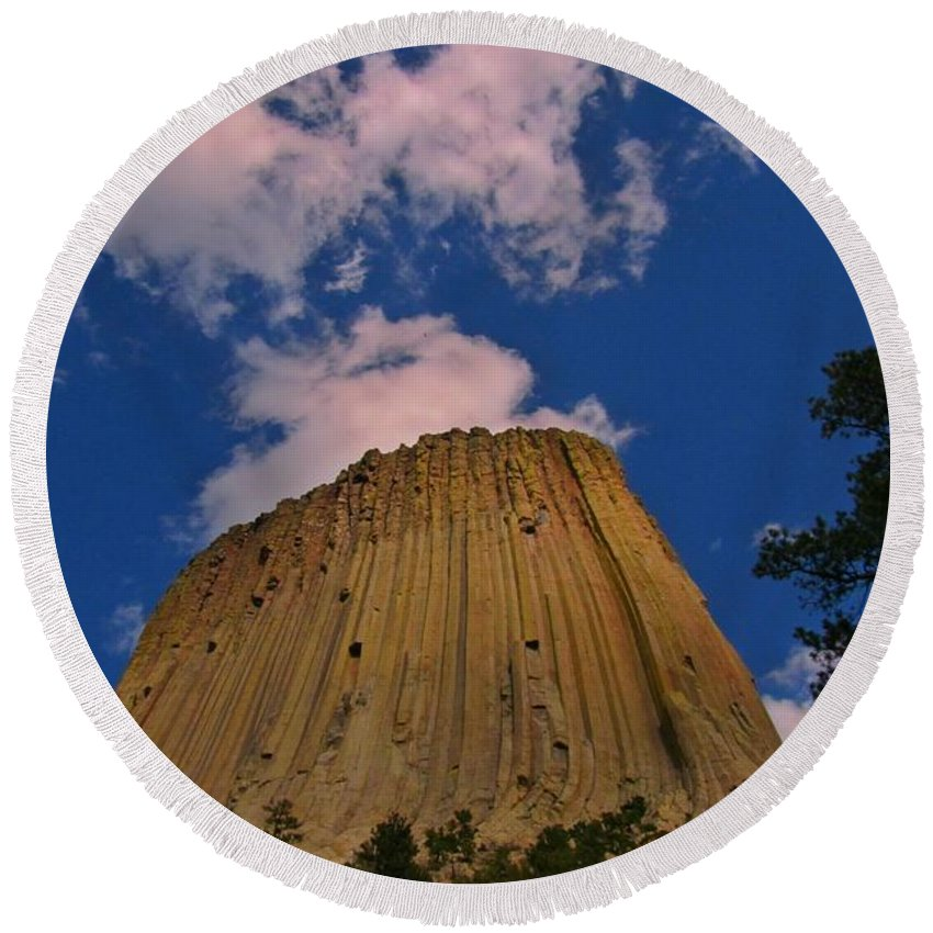 Geology Prints Round Beach Towel featuring the photograph Devils Tower As A Volcano by John Malone