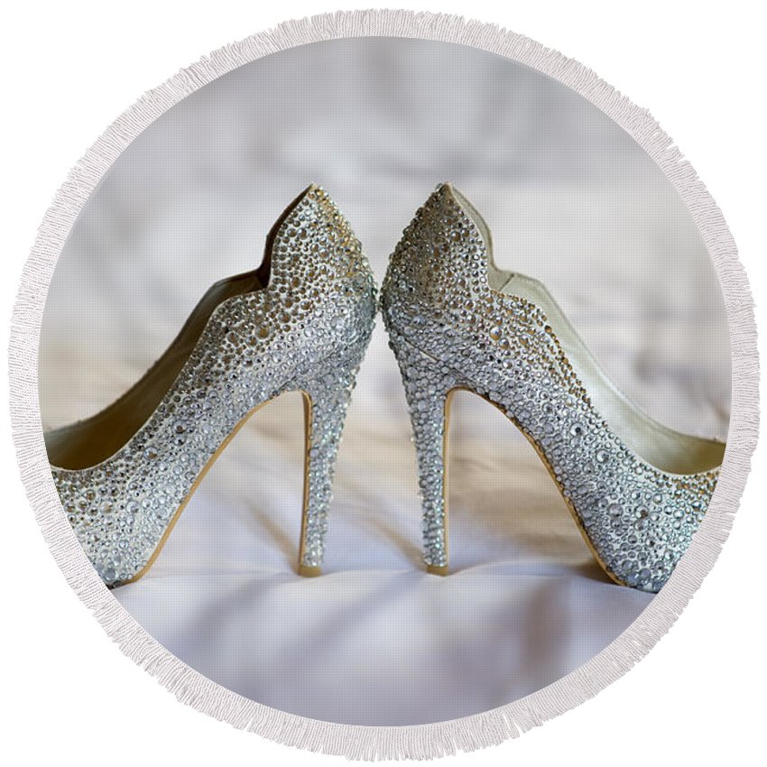 Wedding Round Beach Towel featuring the photograph Diamante Wedding Shoes by Lee Avison