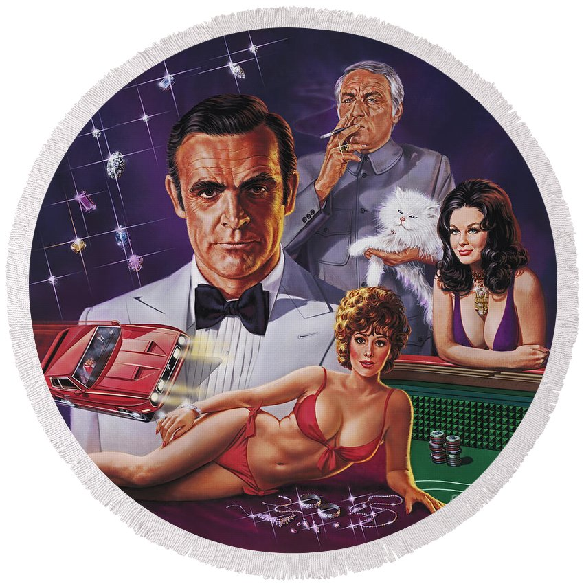 Portrait Round Beach Towel featuring the painting Diamonds Are Forever by Dick Bobnick