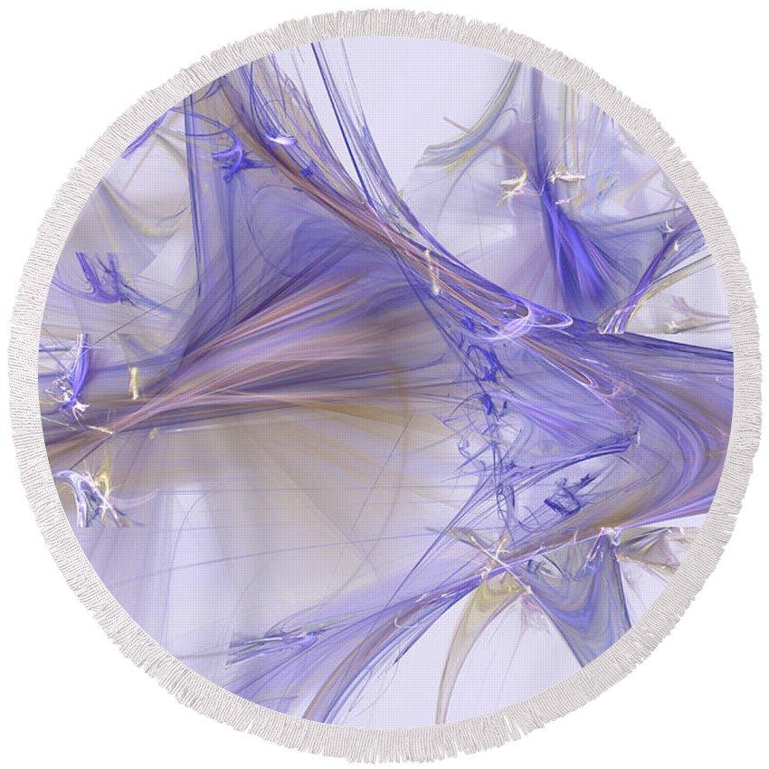 Fractal Art Round Beach Towel featuring the digital art Diamonds by David Ridley
