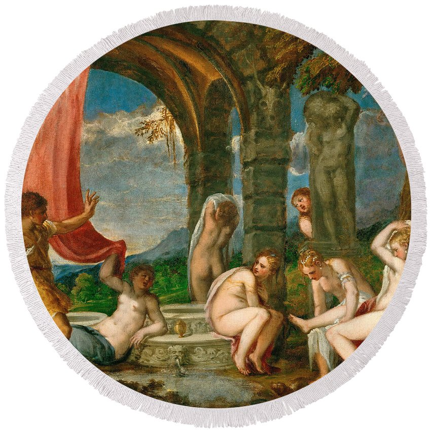 Andrea Schiavone Round Beach Towel featuring the painting Diana And Actaeon by Andrea Schiavone