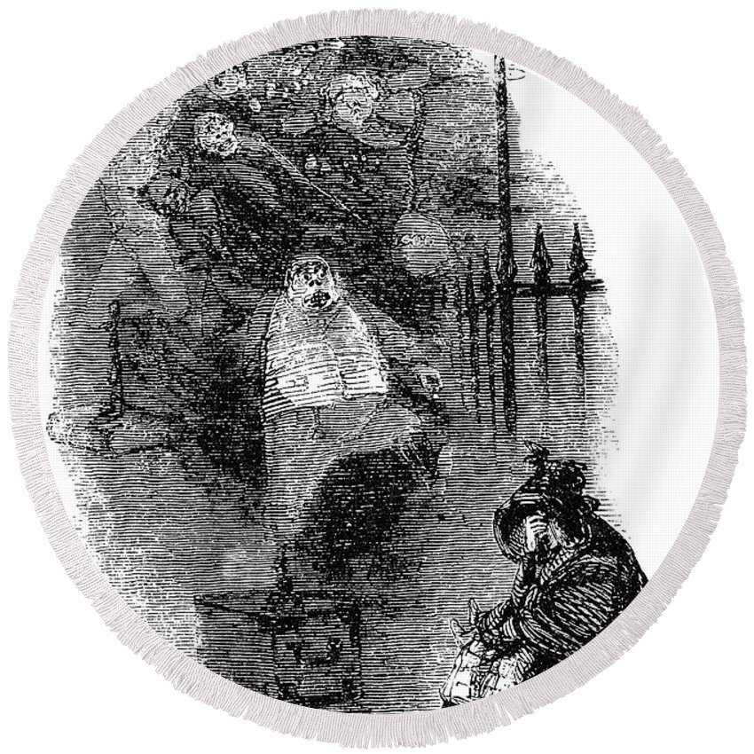 1843 Round Beach Towel featuring the drawing Dickens Christmas Carol by Granger