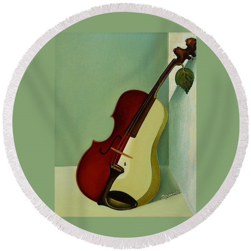 Violin Round Beach Towel featuring the painting Differences by Deyana Deco