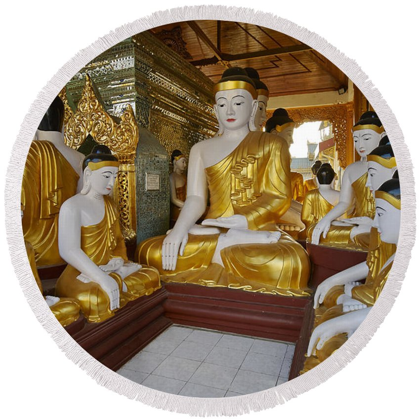 Myanmar Round Beach Towel featuring the photograph different sitting Buddhas in a circle in SHWEDAGON PAGODA by Juergen Ritterbach