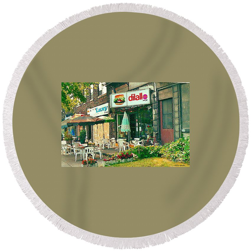 Dilallo Round Beach Towel featuring the painting Dilallo Burger Diner Paintings Originalclassic Vintage Burger Joint St Henri St Catherine Cityscene by Carole Spandau