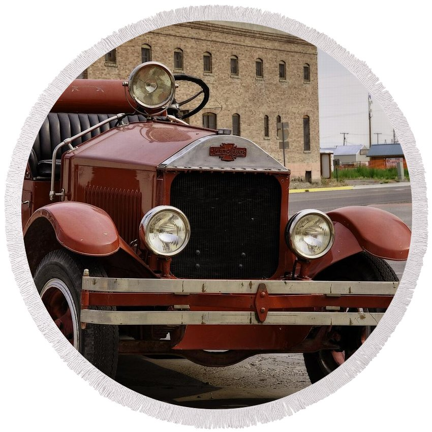 Dillon Round Beach Towel featuring the photograph Dillon Montana Vintage Fire Truck by Image Takers Photography LLC - Laura Morgan