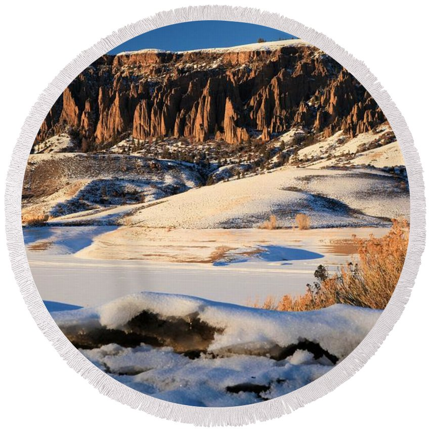 Dillon Pinnacles Round Beach Towel featuring the photograph Dillon Pinnacles Sunset by Adam Jewell