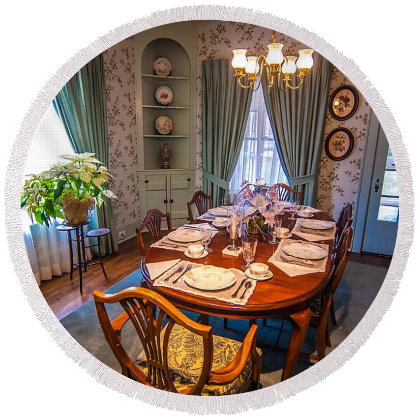 50s Round Beach Towel featuring the photograph Dining Room And Dinner Table by Alex Grichenko