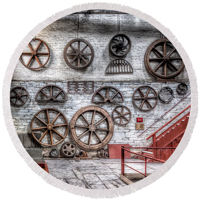 Dinorwig Quarry Round Beach Towel featuring the photograph Dinorwig Quarry Workshop by Adrian Evans