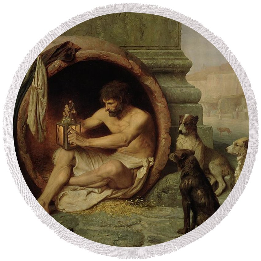 Diogenes Round Beach Towel featuring the painting Diogenes by Jean Leon Gerome