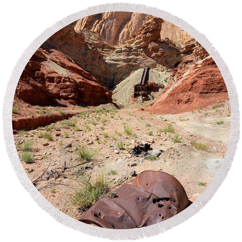 Dirty Round Beach Towel featuring the photograph Dirty Devil Mine San Rafael Swell - Utah by Gary Whitton