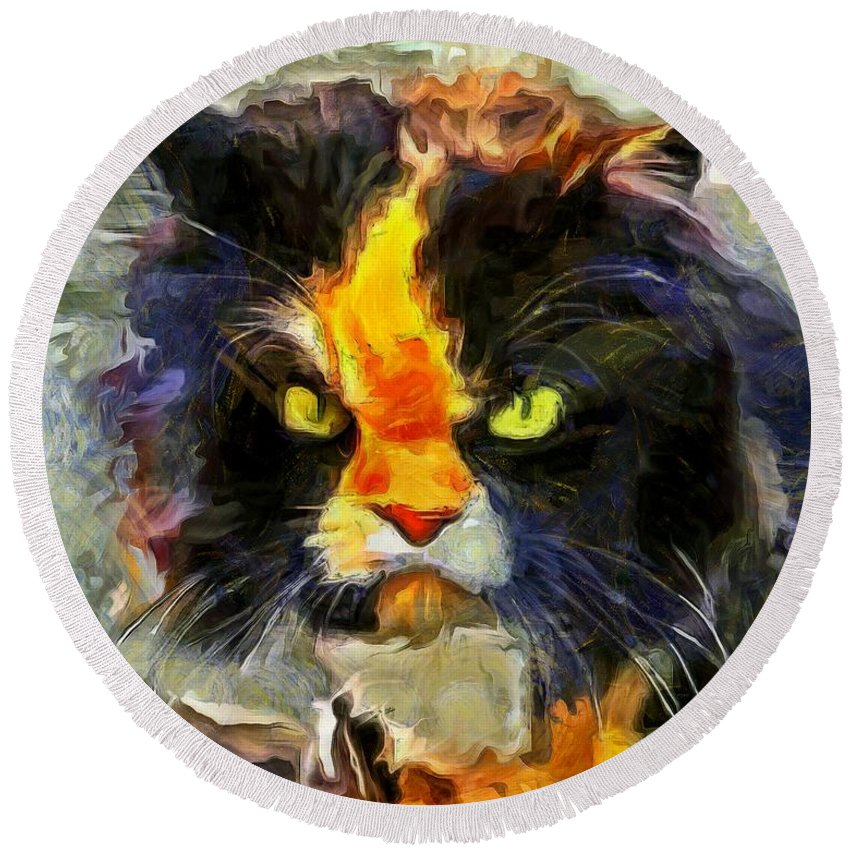 Cats Round Beach Towel featuring the painting Disaffection by Sergey Lukashin