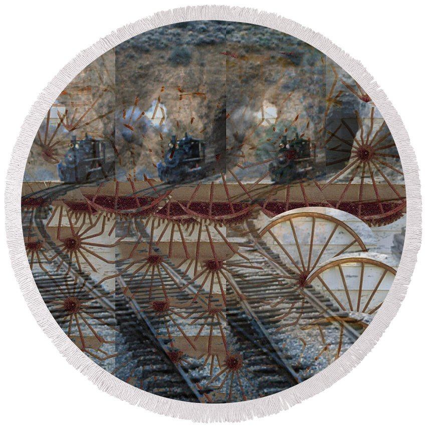 Round Beach Towel featuring the digital art Discovery Of The Wheel by Cathy Anderson