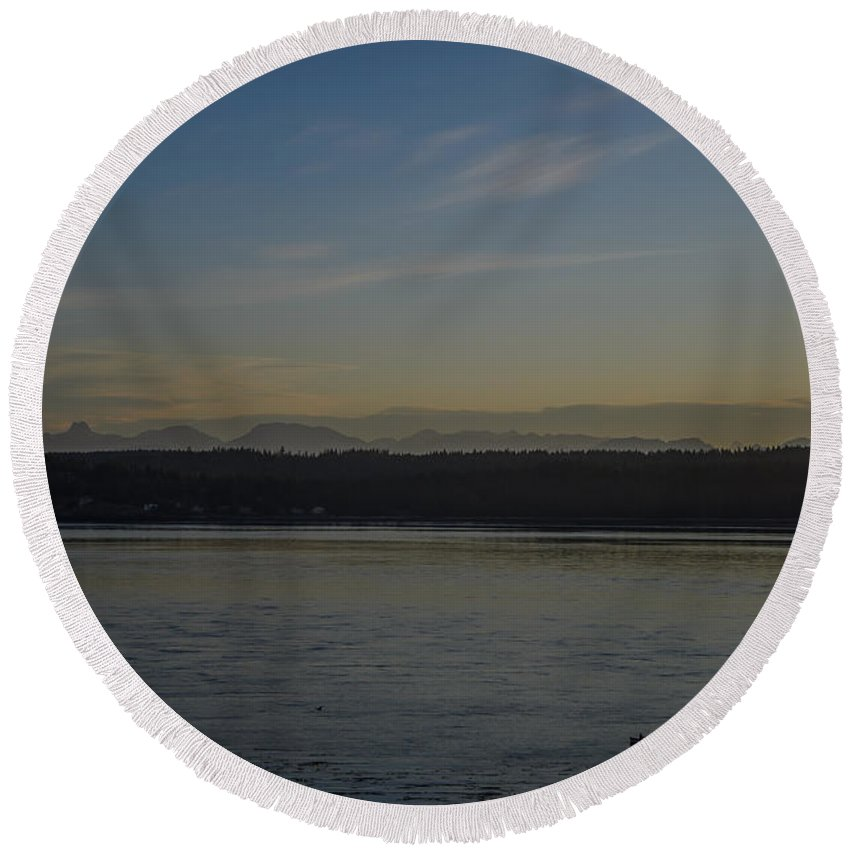 Discovery Passage Round Beach Towel featuring the photograph First Light Discovery Passage by Roxy Hurtubise