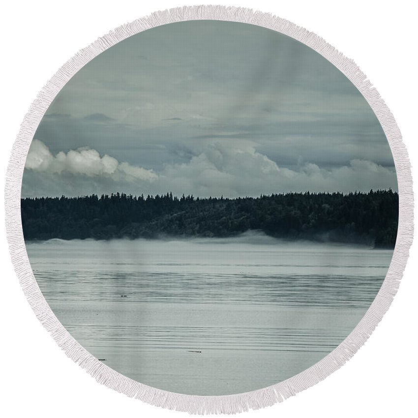 Discovery Passage Round Beach Towel featuring the photograph Discovery Passage Fog Rising by Roxy Hurtubise