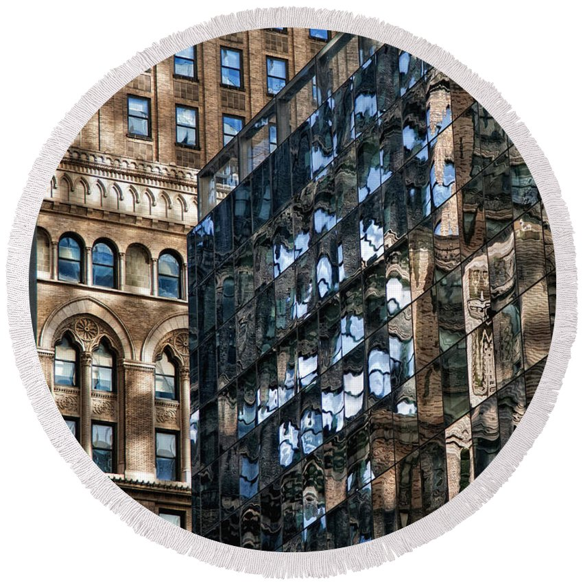 Architecture Round Beach Towel featuring the photograph Disjointed by Claudia Kuhn